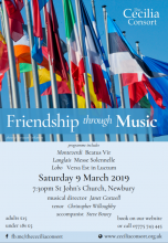 Cecilia Consort - Friendship Through Music. Spring 2019 concert